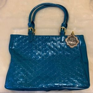 Coco + Carmen Bags - Turquoise With Gold Zipper Satchel. NWT